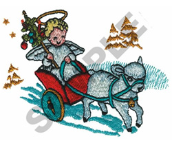 ANGEL IN CHARIOT embroidery design