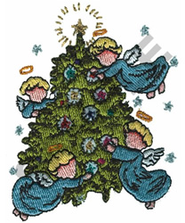 ANGELS DECORATING TREE embroidery design
