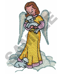 ANGEL HOLDING LAMB embroidery design