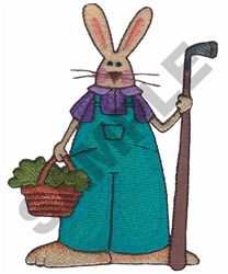 BUNNY WITH GARDEN TOOL embroidery design