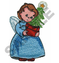 ANGEL HOLDING TREE embroidery design