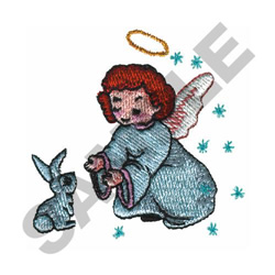 ANGEL WITH BUNNY embroidery design