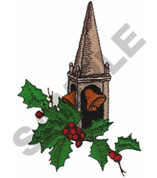 CHURCH BELL AND HOLLY embroidery design