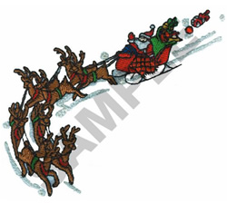 SANTA AND SLEIGH embroidery design