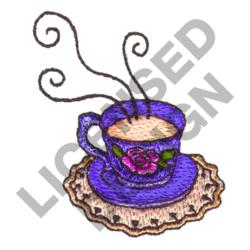 TEACUP ON DOILIE embroidery design