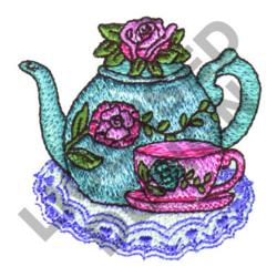 FLORAL TEAPOT AND CUP embroidery design