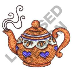 TEAPOT WITH HEART MOTIF embroidery design