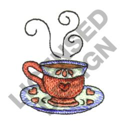STEAMING CUP OF TEA embroidery design