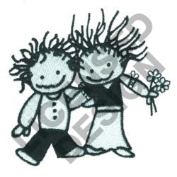 BOY & GIRL ARM IN ARM embroidery design