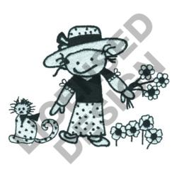 GIRL FLOWERS AND KITTY embroidery design