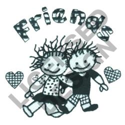 FRIENDS ARM IN ARM embroidery design