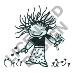 GIRL PICKING FLOWERS embroidery design