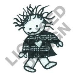 GIRL WITH HEART ON DRESS embroidery design