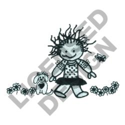 GIRL FLOWERS & PUPPY embroidery design