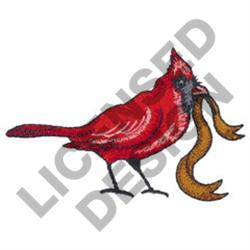 CARDINAL WITH RIBBON embroidery design