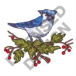 BLUE JAY AND HOLLY embroidery design