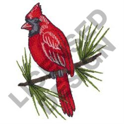 CARDINAL ON PINE BRANCH embroidery design
