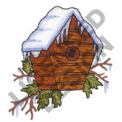 BIRDHOUSE WITH ICICLES embroidery design
