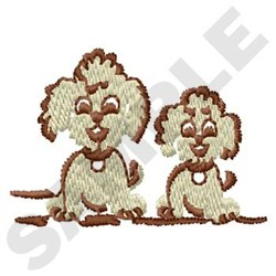 Two Puppies embroidery design