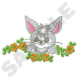 Rabbit In Flowers embroidery design