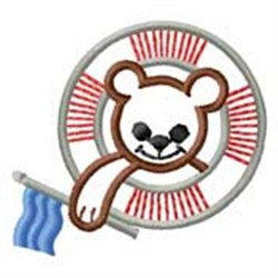 Bear In Life Preserver embroidery design