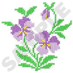Cross Stitch Violets embroidery design