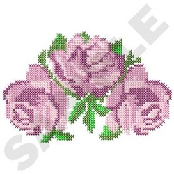 Floral Trio Cross Stitch embroidery design