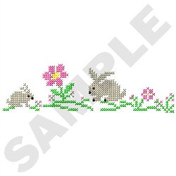 Rabbit Cross Stitch embroidery design