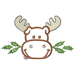 Moose With Holly embroidery design