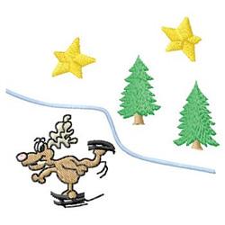 Moose Skating embroidery design