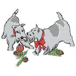 Christmas Scotties embroidery design