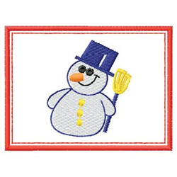 Snowman W/ Border embroidery design