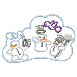 Snowman With Birds embroidery design