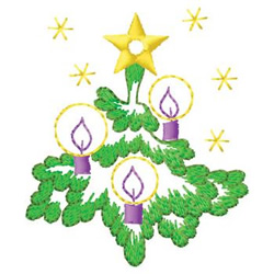 Tree With Candles embroidery design