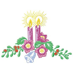 Candles And Flowers embroidery design