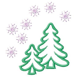 Trees And Snowflakes embroidery design