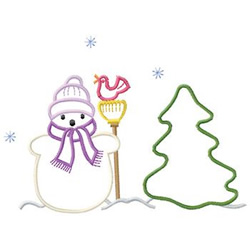 Snowman And Tree embroidery design