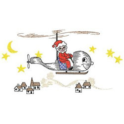 Santa In Helicopter embroidery design