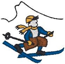 Boy Skiing embroidery design