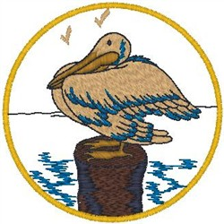 Pelican on Post embroidery design