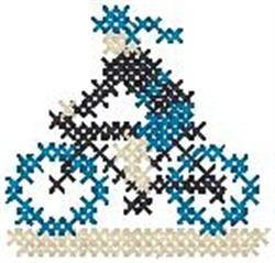 Cyclist Cross Stitch embroidery design