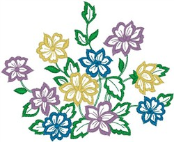 Multicolored Flowers embroidery design