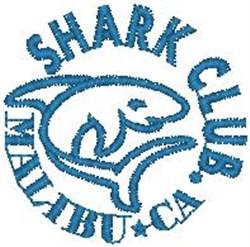Shark Club Malibu embroidery design
