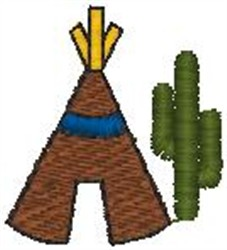 Teepee and Cactus embroidery design