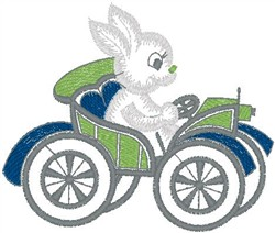 Rabbit in Car embroidery design