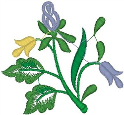 Flowers on Stem embroidery design