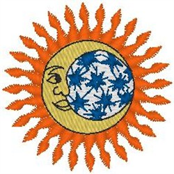 Sun and Earth embroidery design