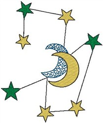 Stars and Moon embroidery design