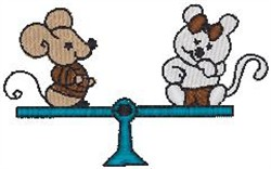 Teeter Totter Mice embroidery design