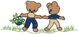 Bears Holding Hands embroidery design